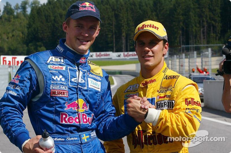 Mattias Ekström and pole winner Laurent Aiello
