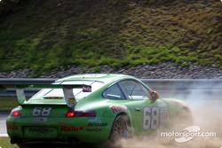 The Racer's Group Porsche GT3 R spins