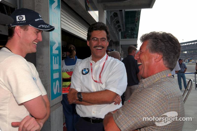 Ralf Schumacher, Mario Theissen and Mario Andretti