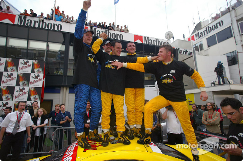 Mattias Ekström, Karl Wendlinger, DTM 2002 Champion Laurent Aiello, Christian Abt and Martin Tomczy
