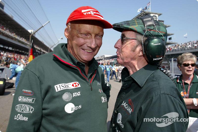 Niki Lauda and Jackie Stewart on the starting grid