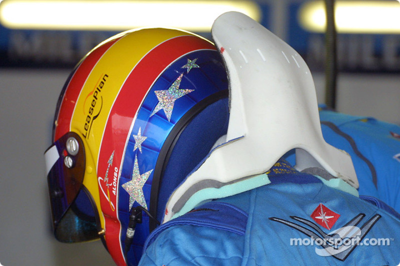 Fernando Alonso and his HANS device