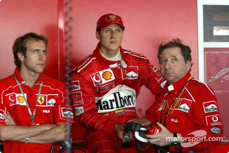 Luca Badoer, Michael Schumacher and Jean Todt