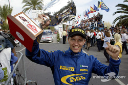 Petter Solberg celebrate 3rd place podium