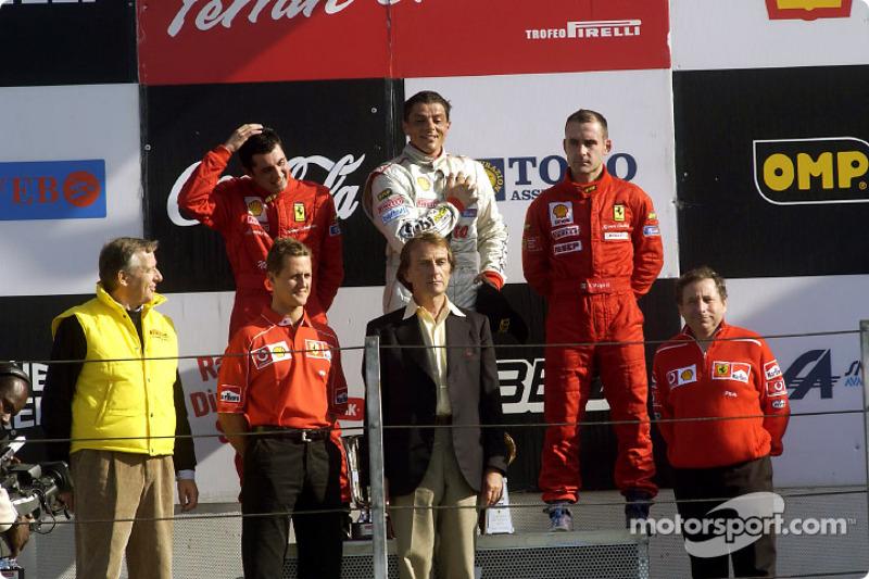 360 Challenge podium: race winner Luigi Moccia with Michael Schumacher, Luca di Montezemelo and Jean