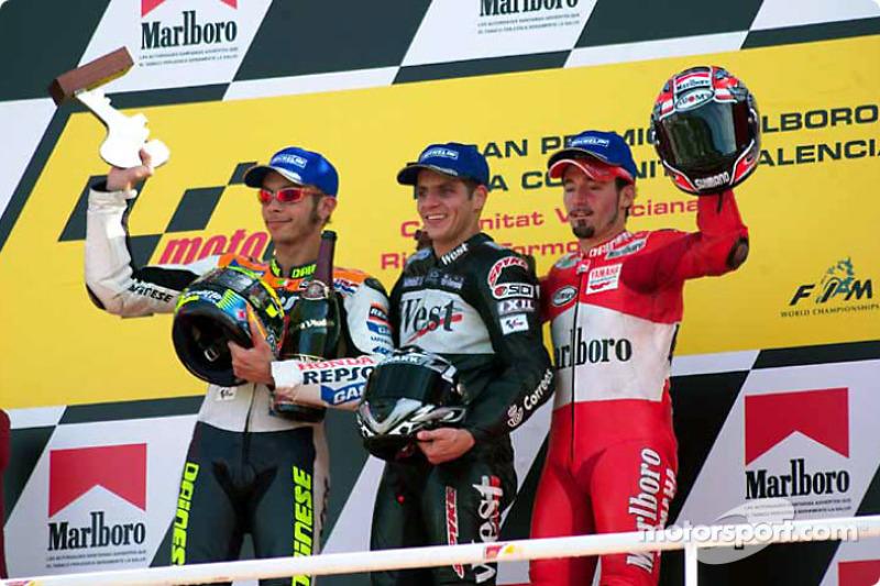 2002: 1. Alex Barros, 2. Valentino Rossi, 3. Max Biaggi