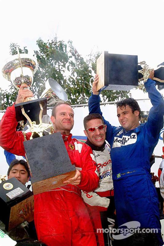 Race winners Rubens Barrichello, Tony Kanaan and Felipe Massa