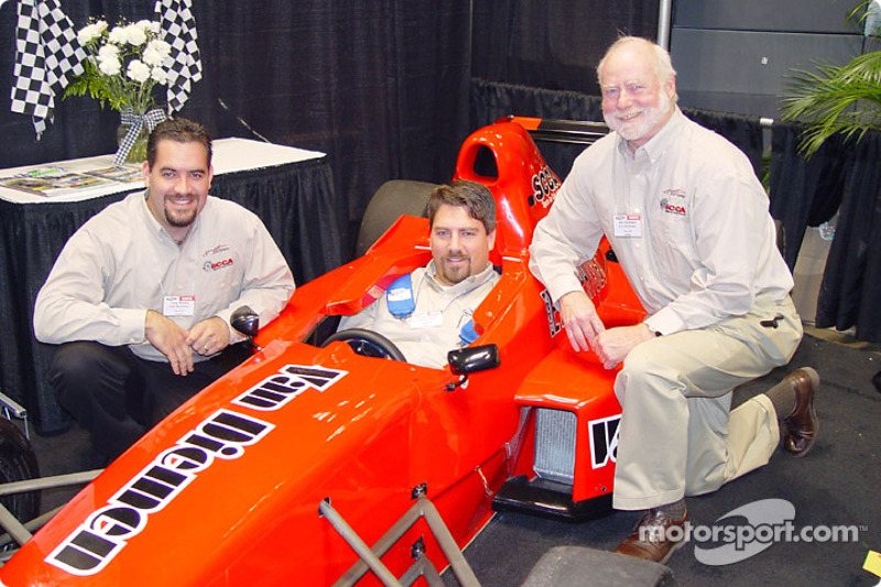 Tony Rivera, Aaron Coalwell and Jim Dickson with the new Formula Enterprises car