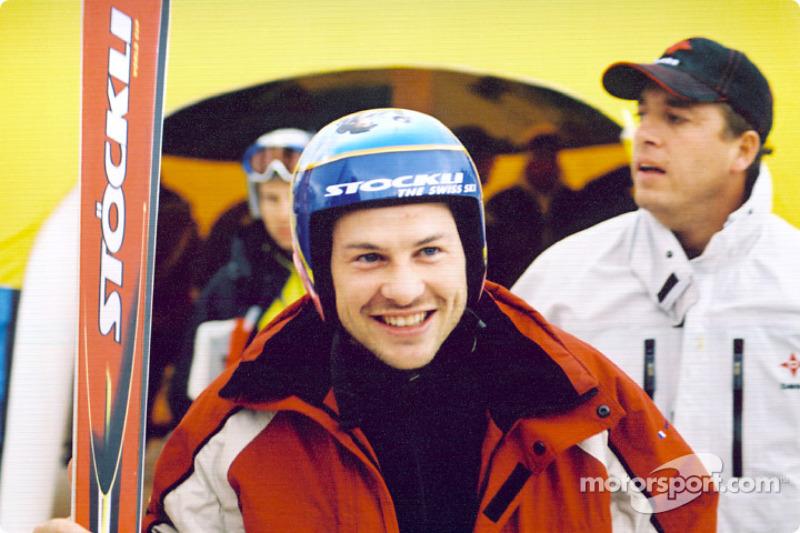 Jacques Villeneuve gets ready to hit the ski slopes
