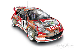 In the new Peugeot 206 WRC 2003