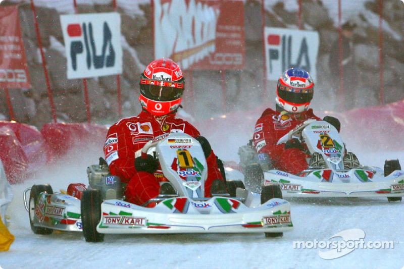 La carrera de karts: Michael Schumacher y Rubens Barrichello