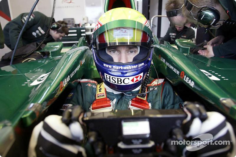Mark Webber during the new Jaguar R4 shakedown test at Ford's Proving Ground in Lommel, Belgium