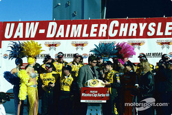 Race winner Matt Kenseth celebrates victory with his team