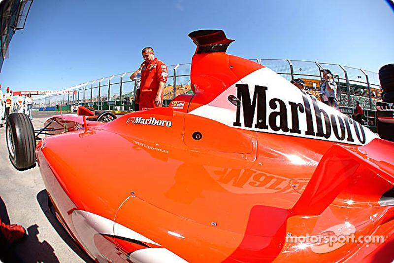 Wide angle view of the Ferrari
