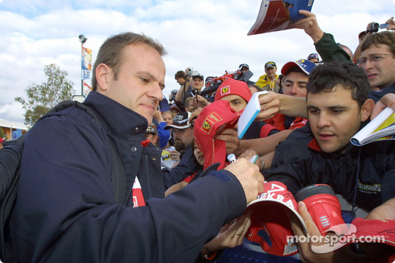 Rubens Barrichello signs autographs