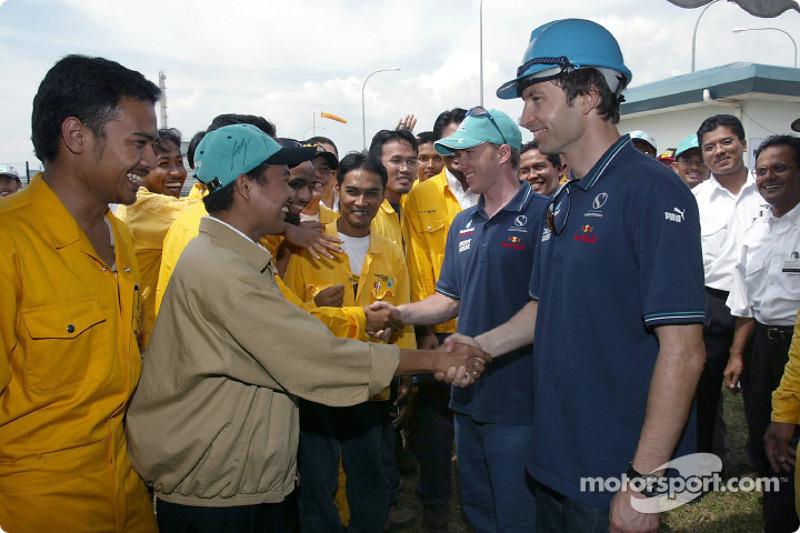 Visit of the Petronas Fertilizer plan: Heinz-Harald Frentzen and Nick Heidfeld