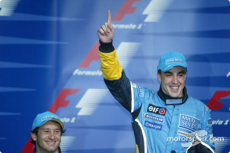 Press conference: pole winner Fernando Alonso celebrates