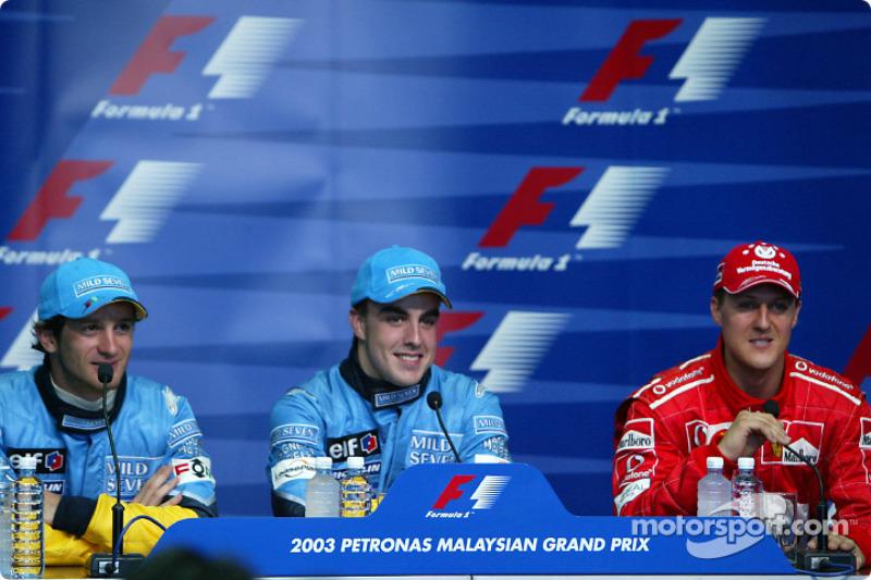 Press conference: pole winner Fernando Alonso, Jarno Trulli and Michael Schumacher