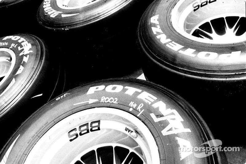 Stack of Bridgestone tires