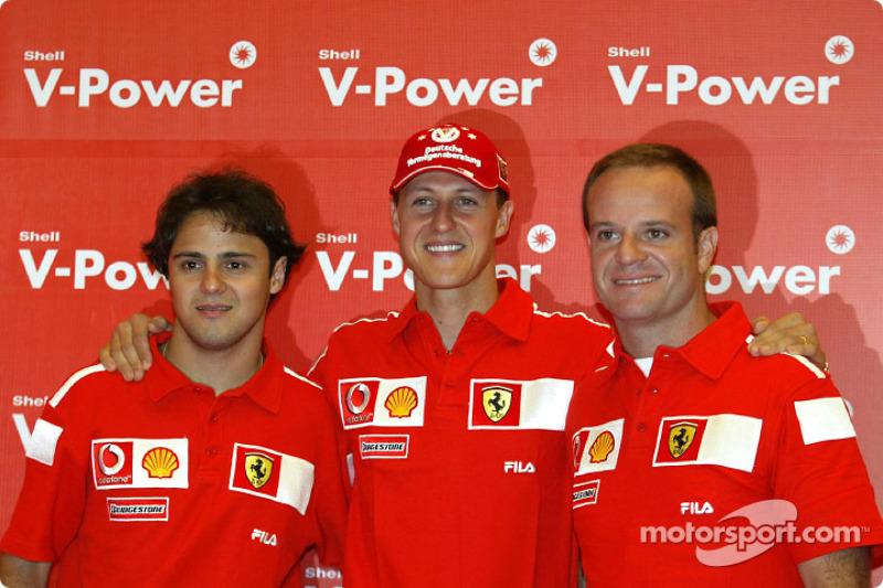 Shell press conference: Felipe Massa, Michael Schumacher and Rubens Barrichello