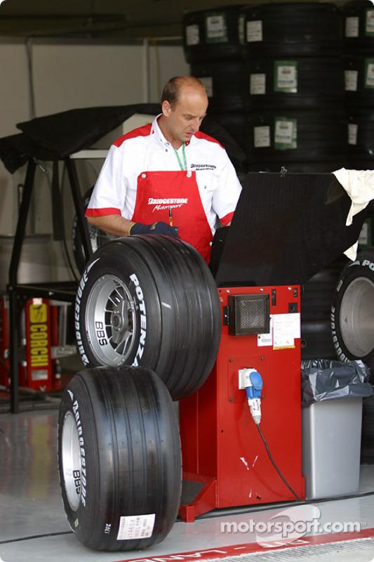 Bridgestone team member prepare the tires