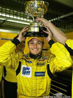 Giancarlo Fisichella celebrates second place finish
