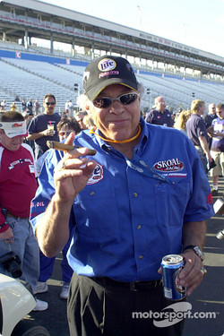 Don Prudhomme celebrates with a cigar and a Miller Lite, of course