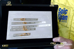 Giancarlo Fisichella's special plaque to commemorate his first Brazilian GP win