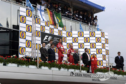 The podium: race winner Michael Schumacher, Kimi Raikkonen and Rubens Barrichello