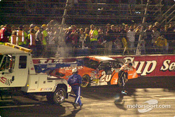 Tony Stewart out of his wrecked car