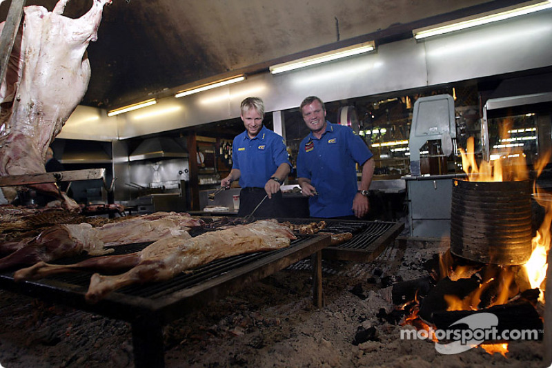 Tommi Makinen and Petter Solberg learn to BBQ Argentinian style