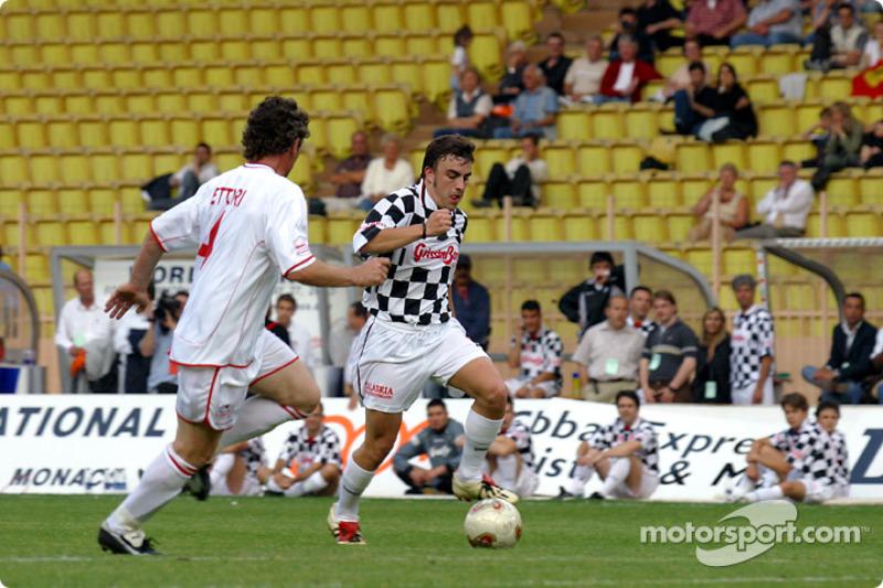Football match at Stade Louis II in Monaco: Fernando Alonso