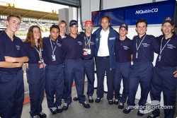 BMW Junior drivers pose with Gerhard Berger