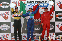 The podium: race winner Memo Rojas with Colin Fleming and David Martinez