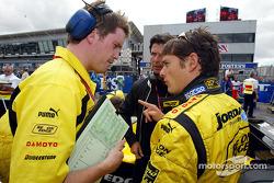 Race engineer Enrique Zanerini and Giancarlo Fisichella