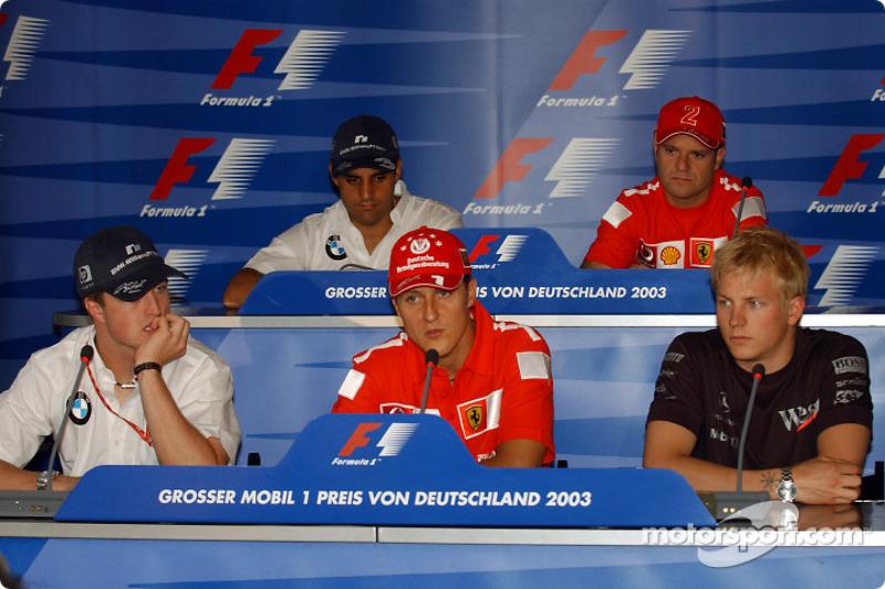 Conferencia de prensa FIA: Ralf Schumacher, Michael Schumacher, Kimi Raikkonen, Montoya y Rubens Bar