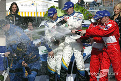 Champagne for Markko Martin, Michael Park, Richard Burns, Robert Reid, Petter Solberg and Phil Mills
