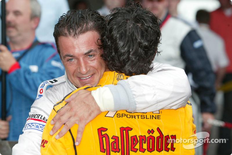 Race winner Laurent Aiello celebrates with Jean Alesi