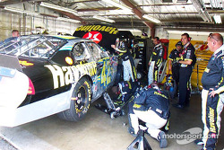 Jamie McMurray's wrecked car being repaired