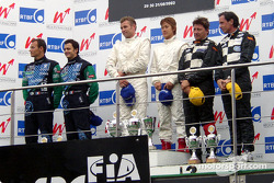 Podium: race winner Seiji Ara and Tom Kristensen with Franck Lagorce, Stephane Sarrazin, Beppe Gabbiani and Felipe Ortiz