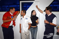 BMW Motorsport Director Gerhard Berger retirement party: Gerhard Berger, Juan Pablo Montoya, Connie Montoya and Dr Mario Theissen
