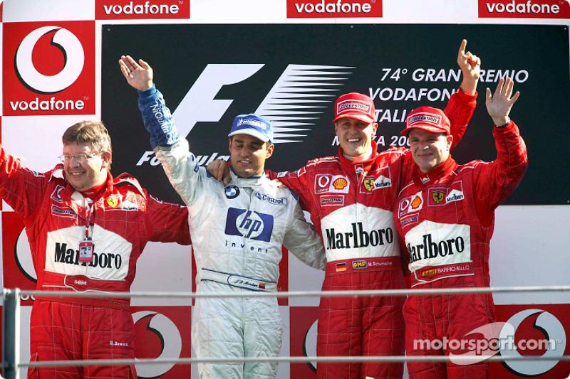 Podio: ganador de la carrera Michael Schumacher, segundo lugar Juan Pablo Montoya y Rubens Barrichello tercero y Ross Brawn