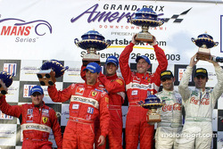 GTS Podium: winners Darren Turner and David Brabham, with Tomas Enge and Peter Kox, Emanuele Naspetti and Domenico Schiattarella