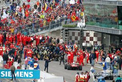 Michael Schumacher arrives in Parc Fermé