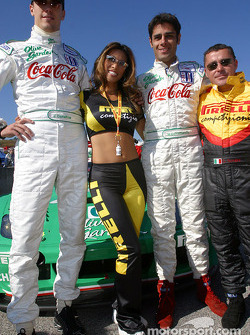 Starting grid: a Pirelli girl pose with Joel Camathias and Domenico Schiattarella