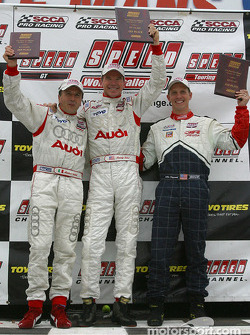 Podium: race winner Randy Pobst with Mike Fitzgerald and Michael Galati