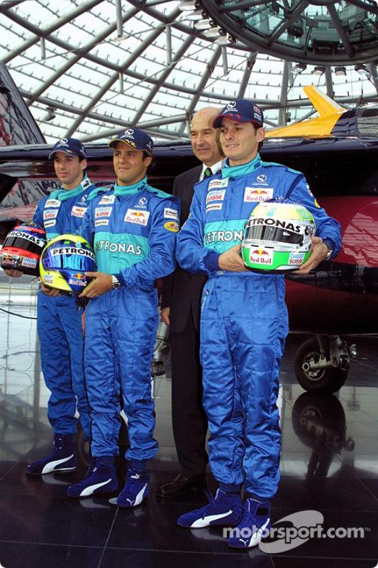 Neel Jani, Felipe Massa, Peter Sauber et Giancarlo Fisichella