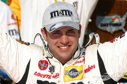 Elliott Sadler celebrates victory on race 2 of the Twin 125s