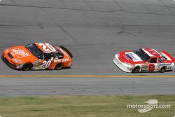 Tony Stewart leads ahead of Dale Earnhardt Jr.