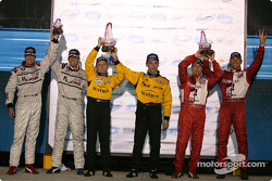 Daytona Prototype podium: winners Wayne Taylor, Max Angelelli, with Scott Pruett, Max Papis, and Cort Wagner, Kelly Collins